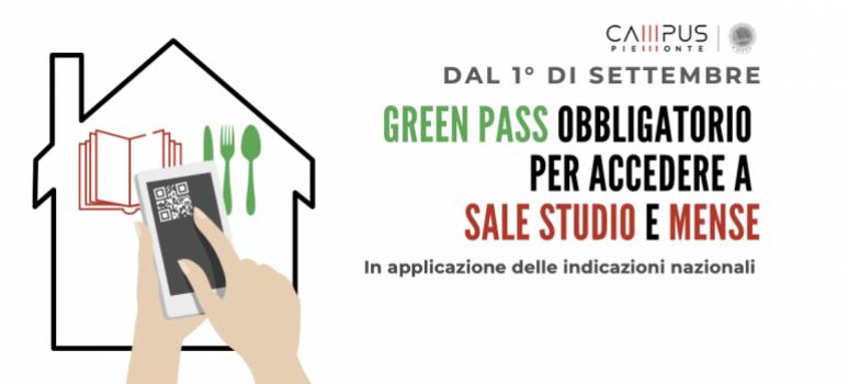 Dal 1° di Settembre Green Pass obbligatorio per l'accesso nelle sale studio e nelle mense