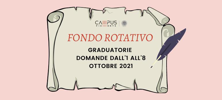 Fondo Rotativo: graduatorie domande dall'1 all' 8 ottobre 2021