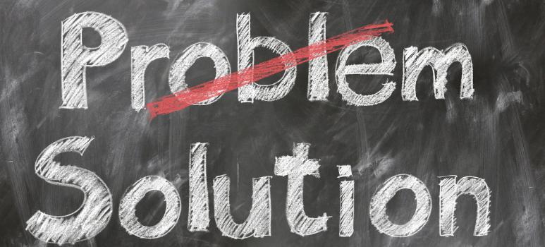 immagine contenente le scritte problem solution