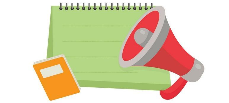 Megafono, quaderno e calendario stilizzati
